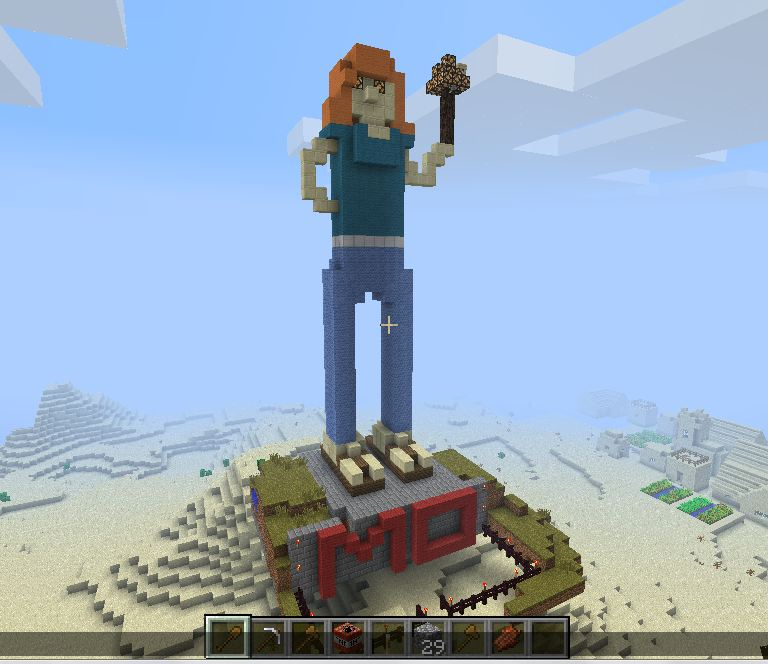 I can't decide if this giant Mo statue that I built in Minecraft is one of the sweetest or creepiest things I've ever done.